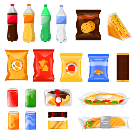 Snack and fast food products set. Cartoon meal and drinks vector illustration, isolated on white background. Beverage bottles, sandwich package and cookie packets, icons and design elements. Vector Illustratie