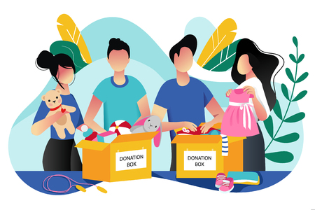 Toys and kids clothes donation. Vector trendy flat cartoon illustration. Social care, volunteering and charity concept. Volunteer people collect donations into boxes. Фото со стока - 131429743