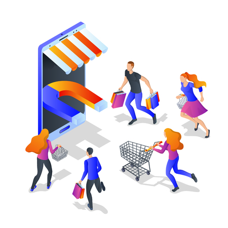 Attraction buyers business concept. Vector 3d isometric illustration isolated on white background. Customer engagement marketing campaign.