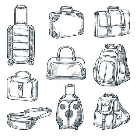 Gepäck Koffer und Handtaschen Vintage Icons Set, isoliert auf weißem Hintergrund. Skizze Vektorgrafik. Designelemente für Reisegepäck.