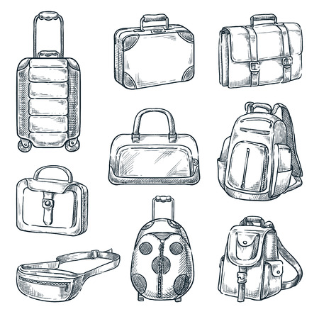 Luggage suitcase and handbags vintage icons set, isolated on white background. Vector sketch illustration. Travel baggage design elements.