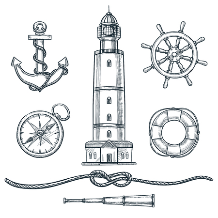 Summer nautical vintage icons set. Vector hand drawn sketch illustration. Sea and marine design elements isolated on white background.