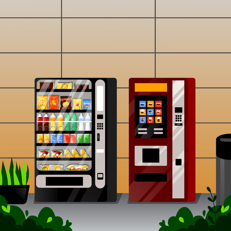 Vending snacks, water and coffe automatic machines. Vetor flat cartoon llustration. Street food selling service. Illustration