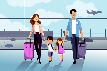 Happy family with two kids going to their summer vacation. Family travel by airplane. Young woman, man, boy and girl in airport. Vector flat cartoon illustration. Иллюстрация