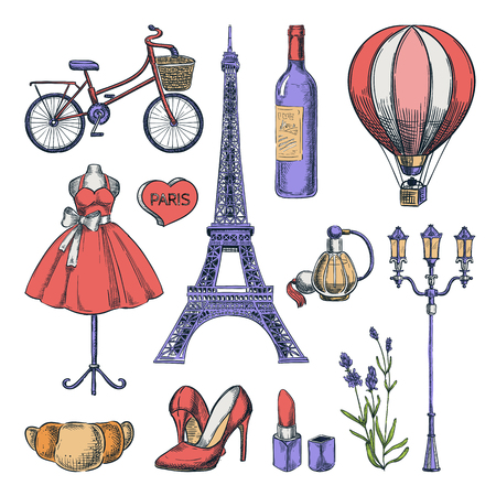 Travel to France hand drawn isolated icons and design elements. Vector color sketch illustration. Paris famous romantic symbols isolated on white background.