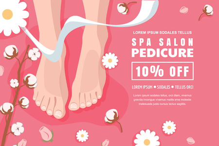 Spa salon and relaxation, banner, poster design template. Pink discount flyer layout for female pedicure and foot care. Womens feet legs and camomille flowers, top view vector cartoon illustration. Ilustrace
