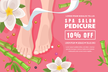 Spa salon flyer, poster layout. Discount banner design template for female pedicure and foot care. Womens legs, green bamboo and lotus flowers on pink background. Top view vector cartoon illustration.
