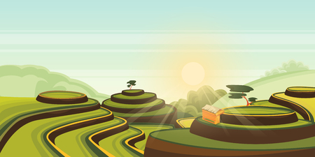 Rice harvest growth on terrace fields. Vector cartoon illustration of green farmland landscape. Asian rural view background. Agriculture harvesting cereals or tea in China. Çizim