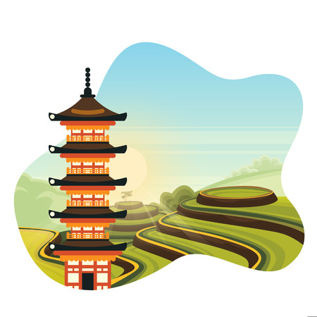 Chinese colorful pagoda on rice terrace fields background. Travel to China isolated vector flat cartoon illustration. Asian traditional architecture and rural green landscape. Stock Illustratie