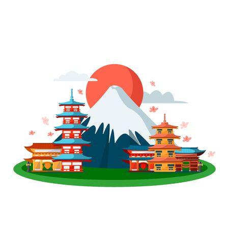 Japanese national symbols. Vector flat cartoon illustration, isolated on white background. Tokyo pagoda buildings and Fuji mountain.
