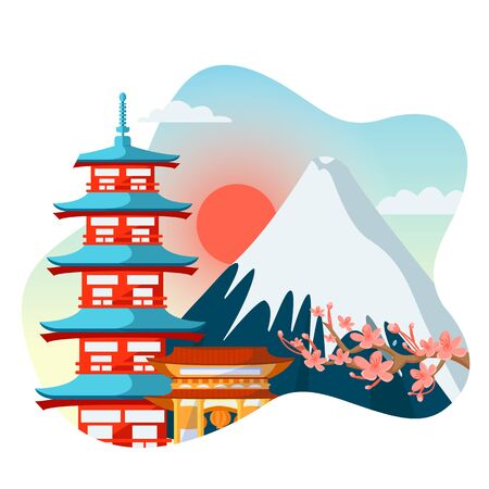 Japanese colorful pagoda, sakura flowers on Fuji mountain background. Travel to Japan isolated vector flat cartoon illustration. Asian traditional architecture and landscape.