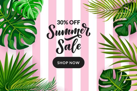 Tropical summer green frame background. Sale banner, flyer or poster design template with hand drawn calligraphy lettering. Palm leaves on pink striped background. Vector cartoon illustration.