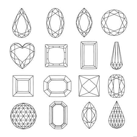 Line art gems, vector icons set. Diamonds and jewels linear illustration. Precious gemstones design elements.