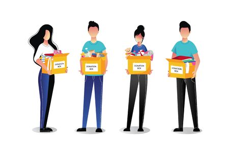 Volunteer young people with donation boxes, isolated on white background. Vector flat cartoon illustrations. Social care and charity concept. Иллюстрация