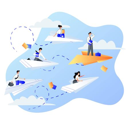 Leadership, career and success business concept. Businessmen people flying on four white and one red paper airplanes. Vector trendy flat illustration.