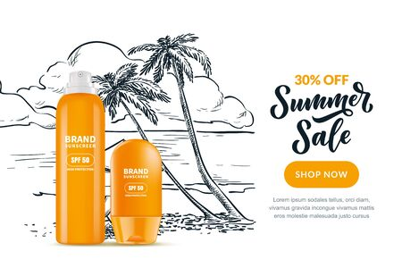 Sale banner, poster design template with calligraphy lettering and sketch beach background. Vector realistic 3d illustration of sunscreen, sunblock cosmetic packaging and hand drawn tropical palms.