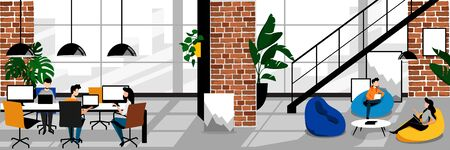 Creative freelancers people in modern coworking office. Vector trendy flat cartoon illustration. Working space with loft contemporary industrial interior. Ilustrace