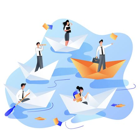 Leadership, career and success business concept. Businessmen people sailing by four white and one red paper ship or boats. Vector trendy flat illustration.