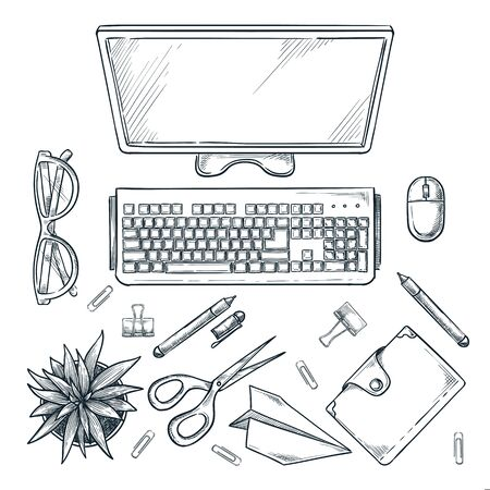 Workplace, vector sketch top view illustration. Office table with computer monitor, cactus and stationery isolated on white background. 向量圖像