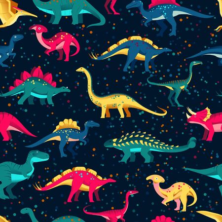 Colorful cute dinosaurs on black background. Vector seamless pattern. Fun textile cartoon kids print design. Иллюстрация