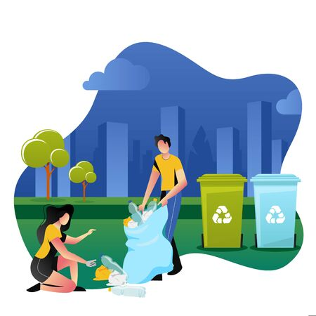 Volunteers picking up plastic garbage outdoor. Volunteering, ecology and environment concept. Vector cartoon flat illustration. People sorting and recycling waste. Ilustração
