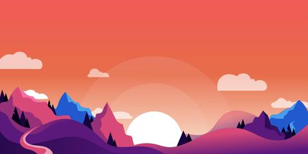 Mountains and hills landscape, horizontal nature background. Vector cartoon illustration of beautiful pink and purple sunset.