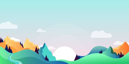 Mountains and green hills landscape, horizontal nature background. Vector cartoon illustration of summer or spring morning.