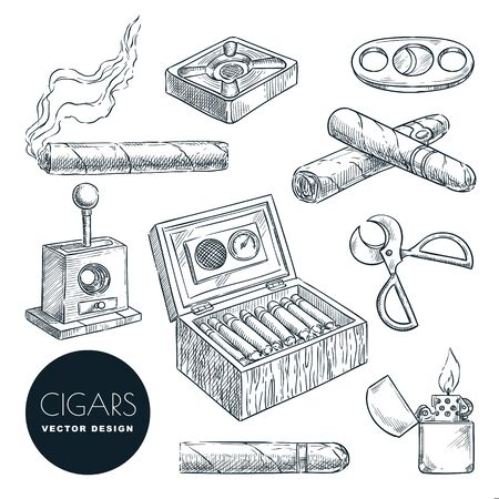 Cuban cigars and accessories vector vintage sketch illustration. Tobacco smoking hand drawn icons set, isolated on white background.
