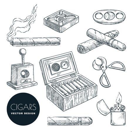Kubanische Zigarren und Zubehör Vektor-Vintage-Skizze-Illustration. Tabakrauchen handgezeichnete Icons Set, isoliert auf weißem Hintergrund.