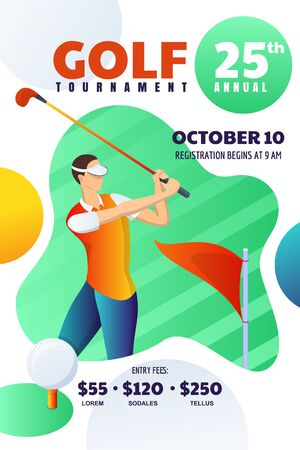 Golf tournament or competition, poster, flyer, ticket layout. Vector modern illustration of young man playing golf and hits the ball. Abstract banner background with place for text.