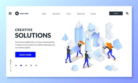 Business team build abstract creative construction from multicolor 3d shapes. Vector isometric illustration for landing page, banner or poster design. Teamwork, partnership and cooperation concept.
