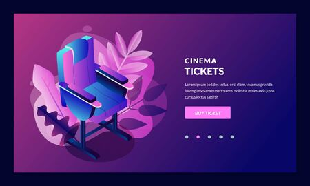 Vector glowing neon cinema festival poster or banner background. Colorful 3d style movie camera with film spotlight. Sale cinema theatre tickets, movie time and entertainment concept.