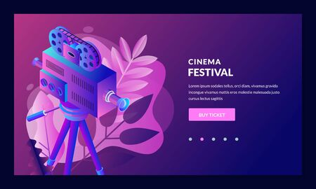 Cinema premiere, theater show, entertainment concept. Sale movie concert tickets, poster, banner design template. Vector 3d isometric illustration. Glowing neon gradient armchair on leaves background
