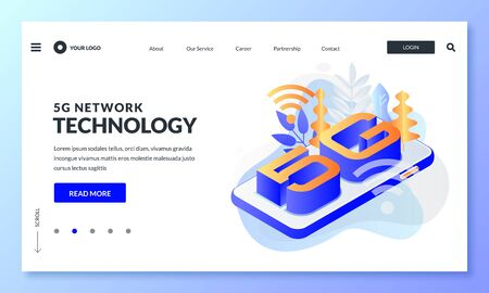 5G network wireless internet technology. Landing page, web banner design layout. Smartphone with letters 5g, vector 3d isometric illustration. High-speed mobile internet connection business concept.