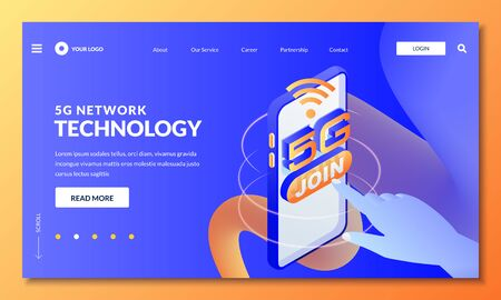 5G network wireless technology. Landing page, web banner design layout. Human finger press join 5g internet button, vector 3d isometric illustration. High-speed mobile internet connection concept