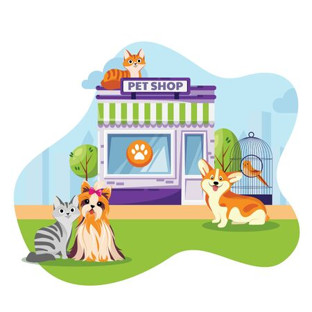 Pet store or vet clinic facade vector flat cartoon illustration. Cats and dogs sitting near animal shop building. Иллюстрация