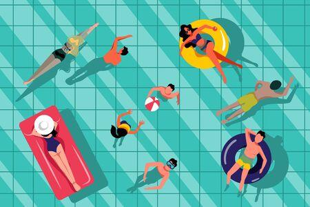 Gente nadando en la piscina, ilustración de la vista superior. Fondo de agua de vector verano dibujado a mano. Resort de playa y concepto de ocio al aire libre.