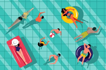 People swimming in swimming pool, top view illustration. Vector summer hand drawn water background. Beach resort and outdoor leisure concept. Stock Illustratie