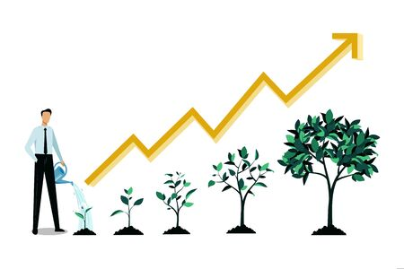 Investment and finance growth business concept. Businessman watering small green sprout. Vector flat illustration. Five stages of growing tree and increase arrow chart, infographic design template. Stock Illustratie