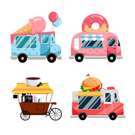 Street food trucks set, isolated on white background. Vector flat colorful illustration. Fast food meals service. Street food festival and catering business, icons and design elements. Stock Illustratie