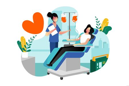 Blood donation, transfusion. Vector flat cartoon illustration. Volunteer female donor donating blood in medical hospital laboratory. World blood donor day concept. Иллюстрация