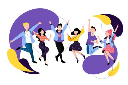 Jumping and dancing happy people. Vector flat illustration. Friends have a fun party. Young colorful men and women cartoon characters. Illusztráció