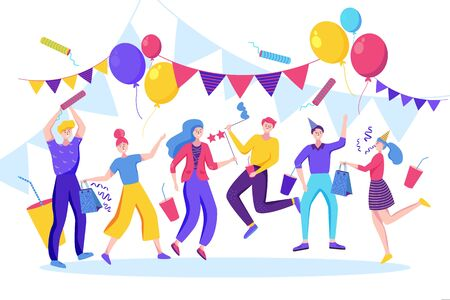 Happy people celebrating birthday, new year or another holiday event. Vector flat illustration. Jumping and dancing young men and women have a fun party. Illusztráció