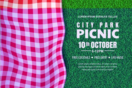 Picnic horizontal background. Vector poster or banner design template with realistic red gingham plaid on green grass lawn. Outdoors summer weekend in city park.