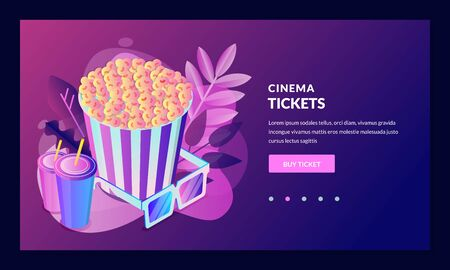 Movie tickets online sale, banner, poster template. Vector 3d isometric design elements for web landing page, app. Cinema night show, neon gradient illustration.