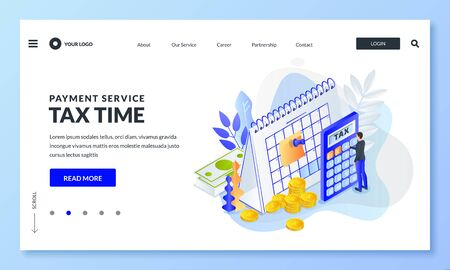 Tax payment time, financial annual accounting business concept . Vector 3d isometric illustration for web landing page, banner or poster design. Man calculates taxes rate.