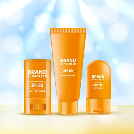 Sunscreen and sunblock cream and stick. Vector realistic 3d illustration of sun protection cosmetics. Summer scincare beauty product collection. Cosmetic packaging mockup design template. Иллюстрация