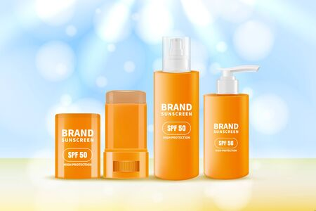 Sunscreen and sunblock cream, spray and stick. Vector realistic 3d illustration of sun protection cosmetics. Cosmetic packaging mockup design template. Summer scincare beauty product. Ilustrace