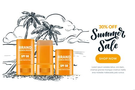 Summer cosmetic sale banner, poster design template with sketch beach landscape background. Vector realistic 3d illustration of sunscreen, sunblock stick in open and closed packaging.