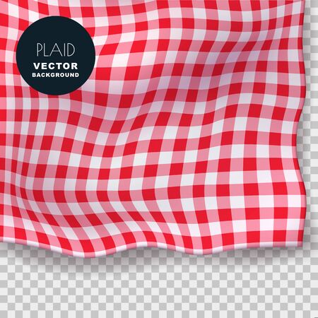 Tablecloth or plaid realistic vector illustration. Red gingham textile blanket on isolated transparent background. Abstract food menu background.
